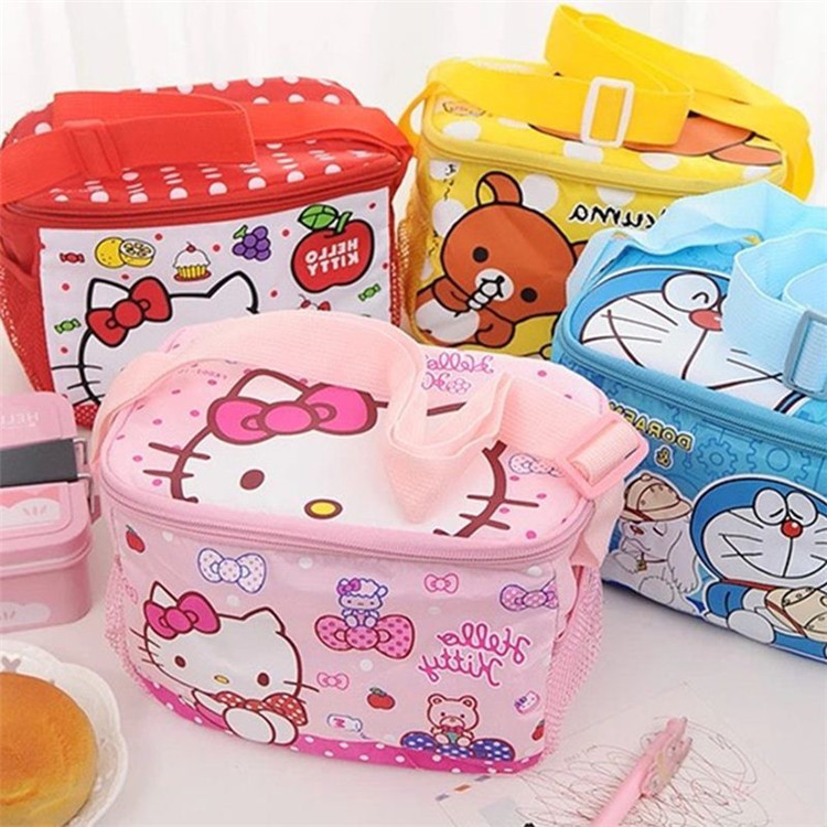 Hello Kitty more waterproof insulation lunch bag students hand bag Cute cartoon children's lunch boxes bags