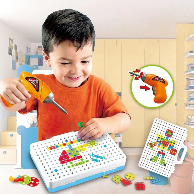 Children Toys Electric drill nut disassembly match the of tool Electric Drill Puzzle Assembled Blocks sets Kids Jigsaw Toy Gifts