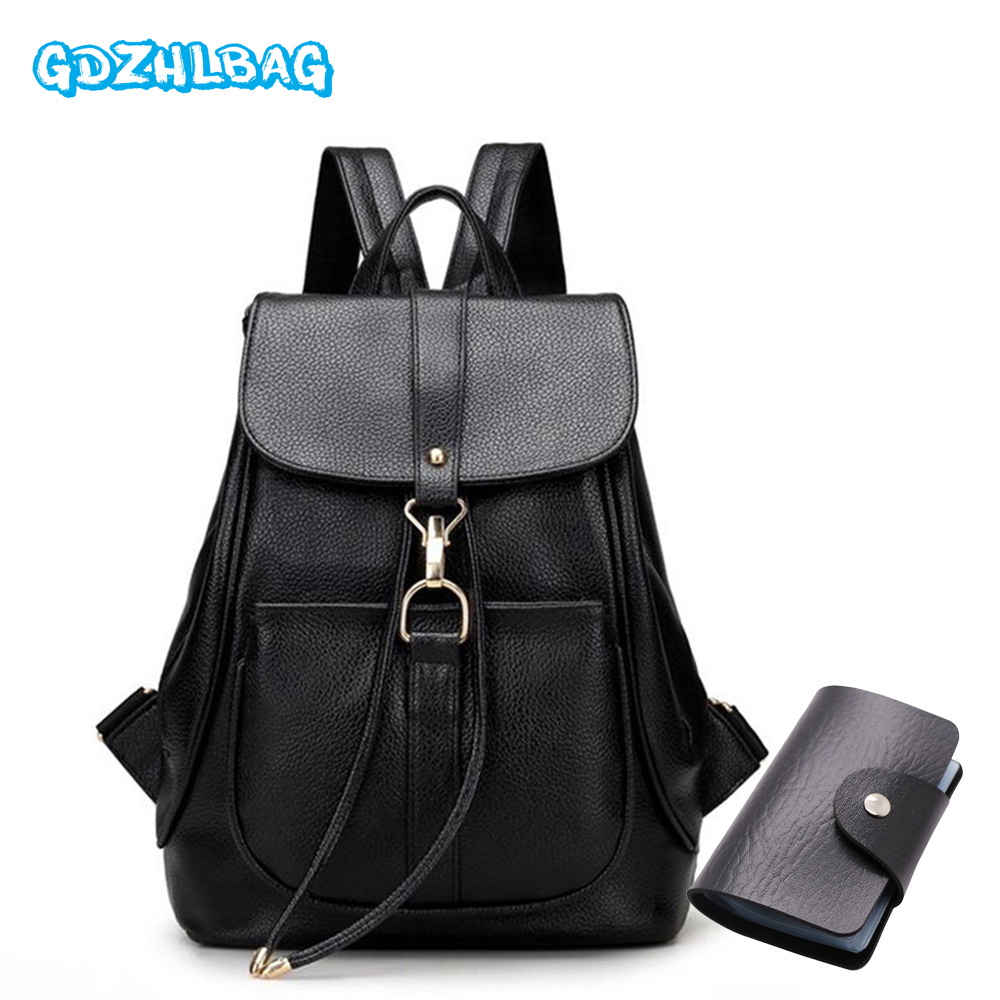 GDZHLbag New 2Pcs/Set Women Backpacks female 2017 School Bags For Girls Black PU Leather Women Backpack Shoulder Bag Purse B042 new 2018 women backpack leather rivet bag ladies shoulder bags girls school book bag black backpacks mochila bagpack 3 pcs sets