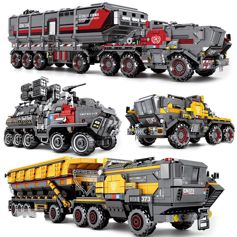 DHL film errant terre silex militaire lourd Transport camion voiture modèle Compatible technique briques enfants jouets cadeaux