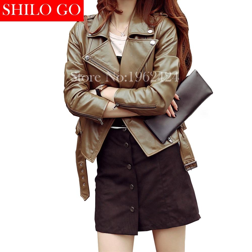 Free shipping 2016 new autumn fashion women high quality sheep skin lapel leather motorcycle jacket short