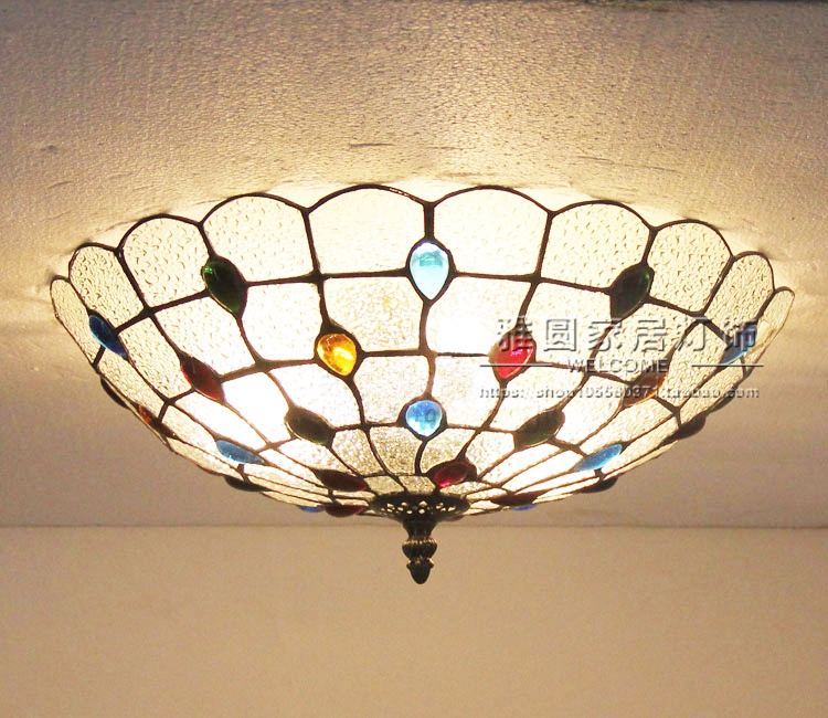 Vintage Retro Mediterranean Ceiling Lamps AC110V-220V Stained Glass Aisle Hotel Restuarant LED Balcony Lamp LightingVintage Retro Mediterranean Ceiling Lamps AC110V-220V Stained Glass Aisle Hotel Restuarant LED Balcony Lamp Lighting