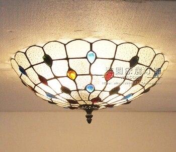 Vintage Retro Mediterranean Ceiling Lamps AC110V-220V Stained Glass Aisle Hotel Restuarant LED Balcony Lamp Lighting