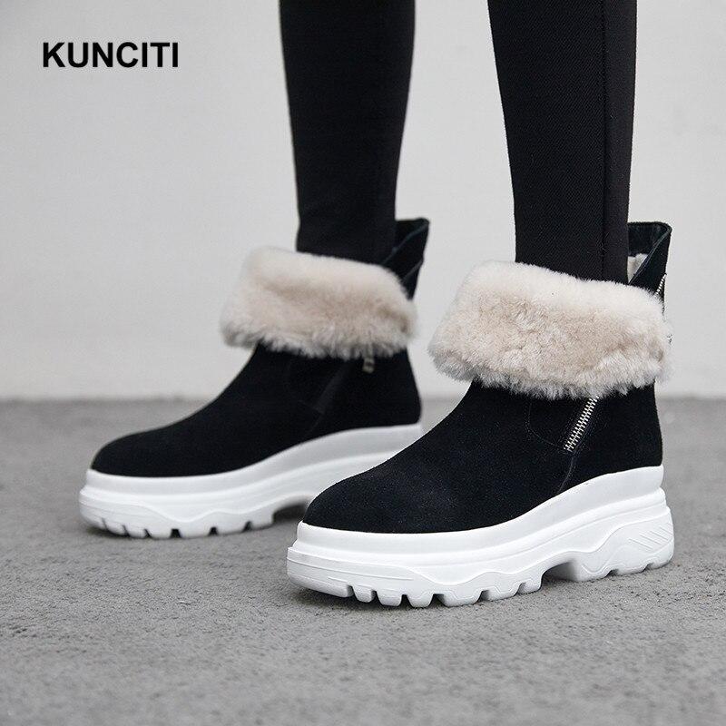 Cuero 41 Tobillo Mujer Tamaño Botas De Calidad Black 2018 Superior Gamuza Cálido Zapatos Plataforma Invierno Botines Más Kunciti 34 pink D524 Nieve 54xO4qw6