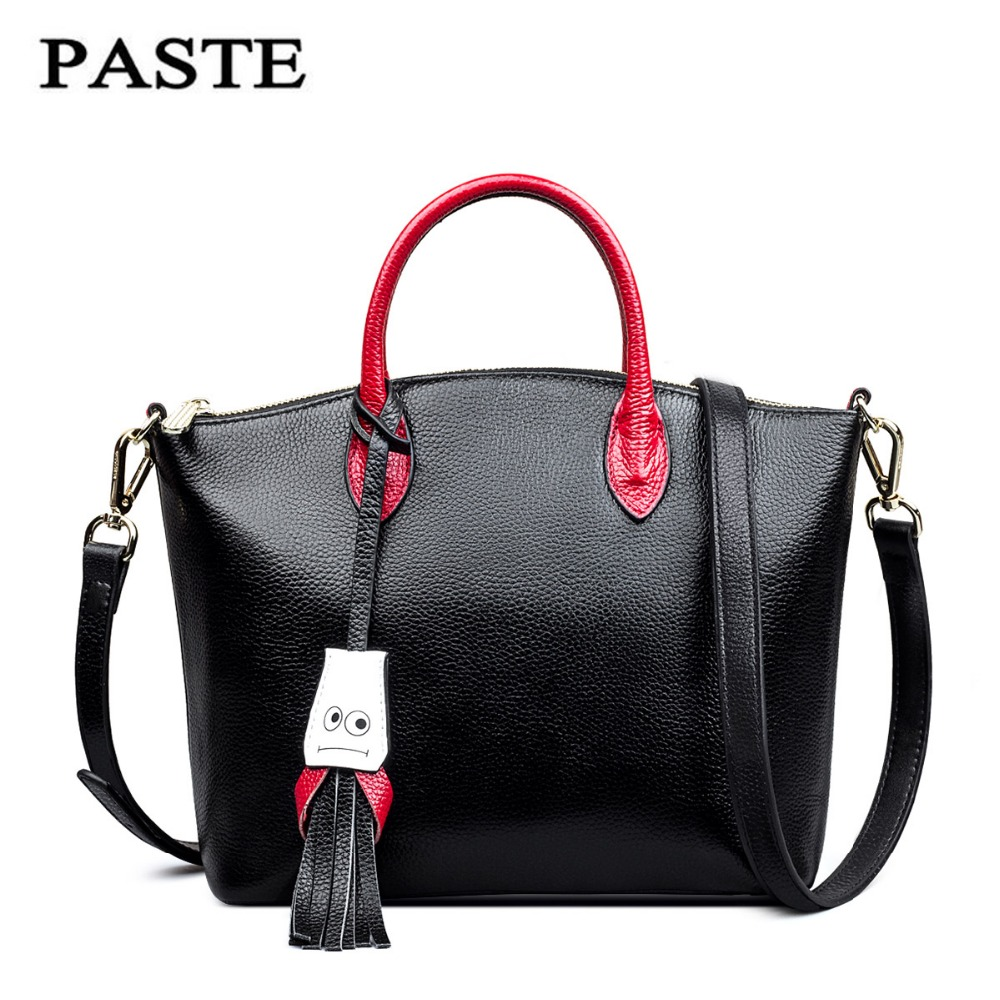 PASTE Famous Brand First layer Genuine leather bag Fashion Tassel shoulder messenger bags Casual women leather handbag Smile bag new women vintage embossed handbag genuine leather first layer cowhide famous brand casual messenger shoulder bags handbags