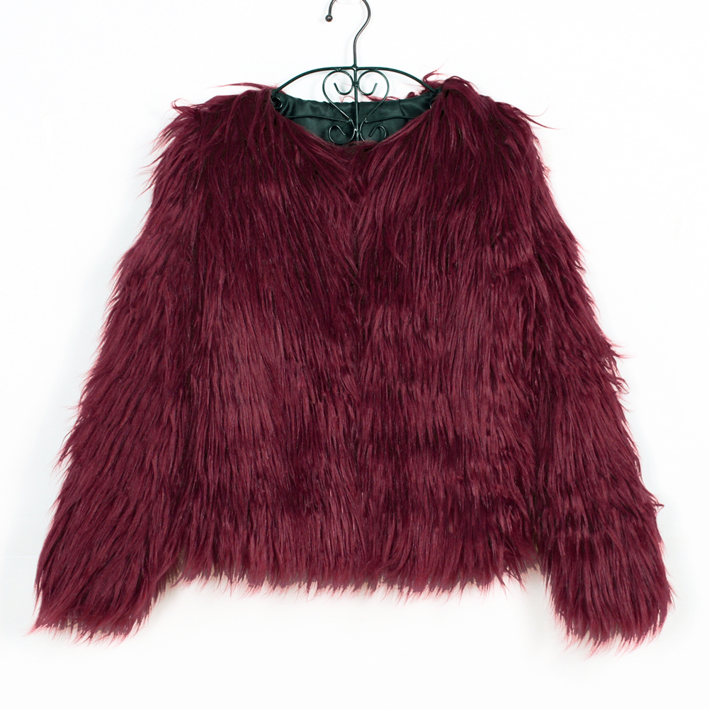 Fashion Furry Faux Fur Coat Women Fluffy Warm Long Sleeve Female Outerwear Autumn Winter Coat Jacket Hairy Collarless Overcoat 23