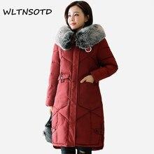 2017 New winter coat women long Hooded Fur collar Slim jacket Female fashion badge pattern Big pocket warm Parkas
