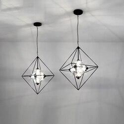 Nowoczesne lampy wiszące światła Vintage diament żelazny żyrandol Led G4 restauracja salon oświetlenie dekoracyjne oprawy Luminaria w Wiszące lampki od Lampy i oświetlenie na