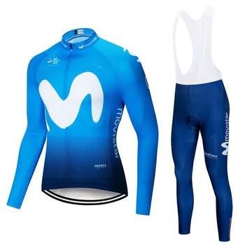 Movistar 2019 manga comprida Ciclismo jersey Set Verão Respirável calças jardineiras ropa ciclismo MTB da bicicleta da bicicleta roupas roupas Masculinas