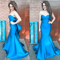 Elegante Azul de Cielo de Baile Vestidos Sirena Cariño Fuera Del Hombro del Satén del Verde Esmeralda Vestido de Fiesta