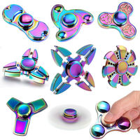 Rainbow Heptagonal Hand Spinner fidget Zinc Alloy Metal fidget spinner metal bearing edc finger Spiner Hand relieves stress
