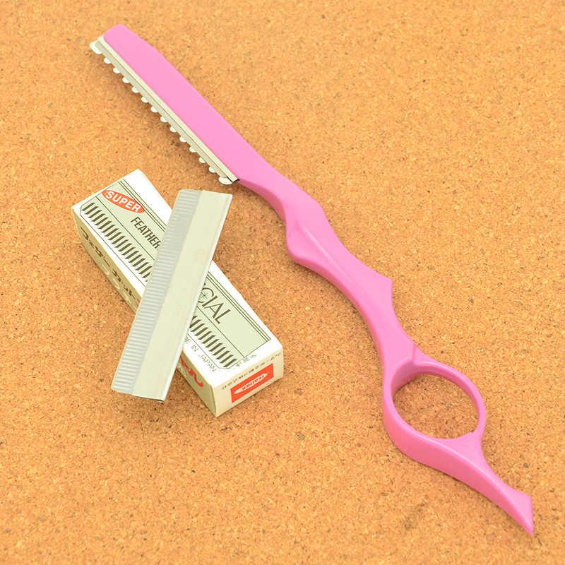 Meisha の安全切断カミソリ用の美容師の鋼理容サロン間伐ツール + 10 ピースブレードこする眉ナイフ HC0007