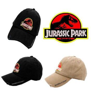 Gorra de béisbol negra de Parque Jurásico estampado papá Casquette Snapback  sombreros de deporte de moda hombres gorras de algodón lavadas gorras 2fd78438414