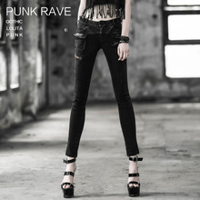PUNK RAVE punk style black full length skinny  twill pants with fake zippers K-188