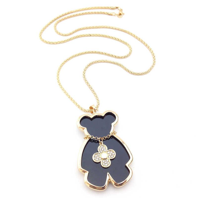 สาวT Rinkets Mis Naszyjnik D Iamanteจำพวกถั่วทองIหมีตุ๊กตาหมีเสื้อกันหนาวจี้สร้อยคอโซ่ผู้หญิงเครื่องประดับ