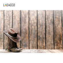 Laeacco American West Cowboy Boots Hat Wooden Board Photography Backgrounds Customized Photographic Backdrops For Photo Studio цена