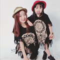 family look 2017 Mother Daughter New Summer Mom & Daughter Dress Tassel Matching Mother Mommy Me Dress Black Fringe Baby Clothes