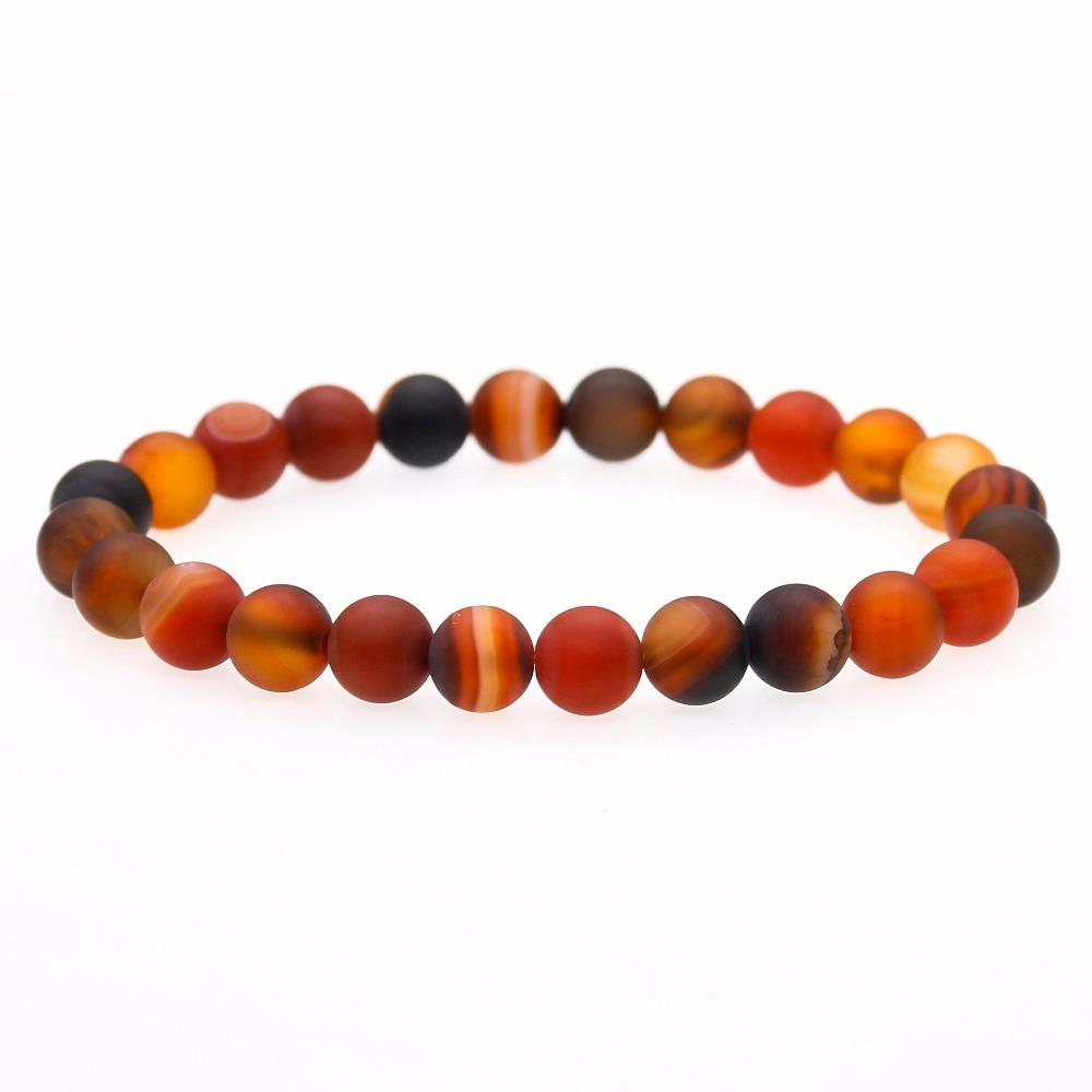 6 mm 8 mm mat Onyx Prière Perles Bracelet Pour Hommes Femmes élastique pierres naturelles