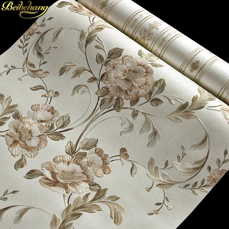 beibehang Embossed large Flowers papel de parede 3D Wall paper Roll Wallpaper For Wall Living room Background Covering flooring beibehang embossed damascus non woven wall paper roll modern designer papel de parede 3d wall covering wallpaper for living room