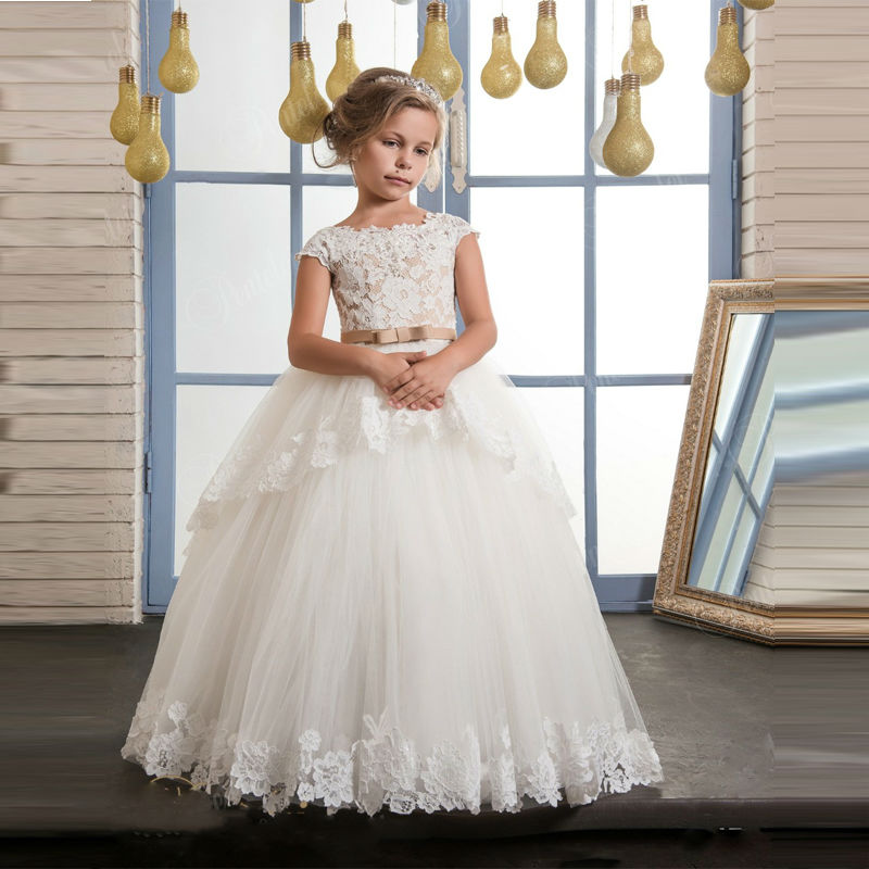 High Quality Lace Appliques Flower Girl Dresses with Belt Baby Girl Ball Gown for Weddings Holy Communion