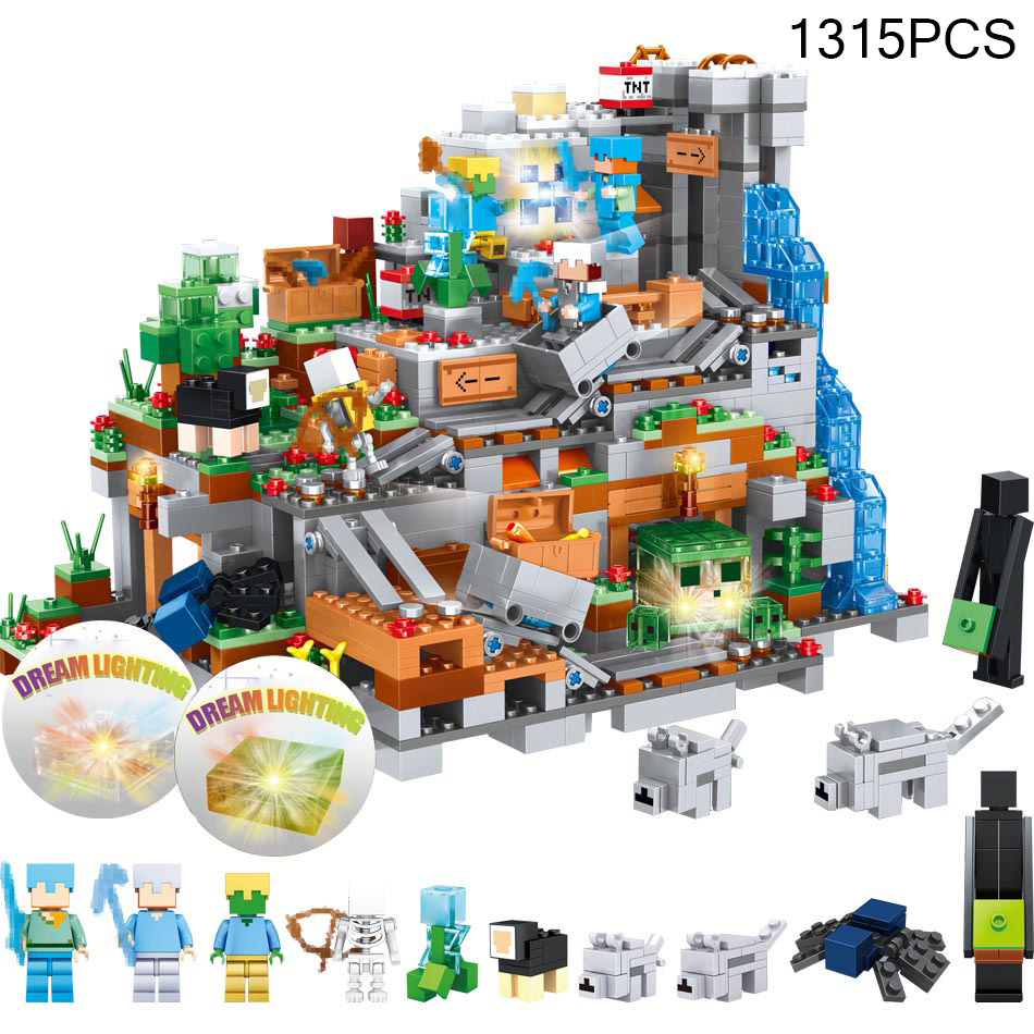 Model Building Kits Compatible With Lego 21133 18027 My Worlds Minecraft The Witch Hut 1315pcs World Minecrafted Mountain Castle Action Figures Blocks Legoed City Diy Bricks