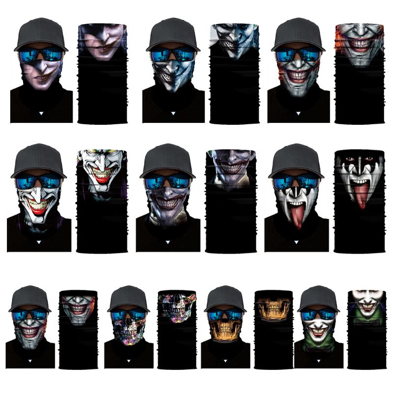 Apparel Accessories Men Unisex Cycling Motorcycle Widen Magic Scarf Geometric Skull Bone Printing Tube Headband Outdoor Turban Face Mask Bandanas