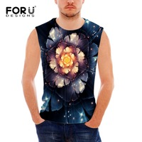 FORUDESIGNS 2017 Summer Tank Top 3D Floral Print Men Clothing Fitness Mens Sleeveless Vests Singlets Tops