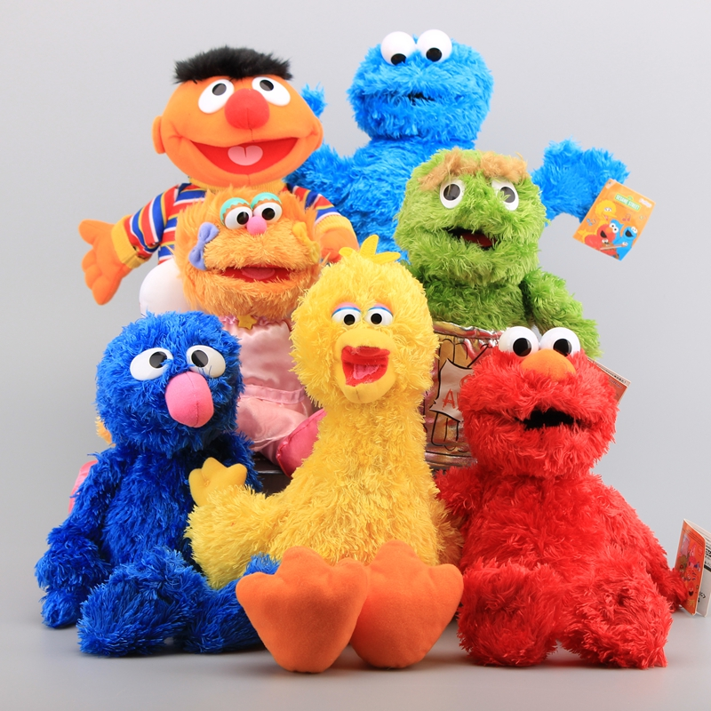 все цены на 7 Characters Sesame Street Hand Puppet Plush Toys Elmo Cookie Monster Ernie Big Bird Grover Children Soft Stuffed Dolls 21-40 CM онлайн