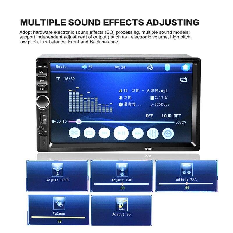 imágenes para 7018B caliente 7 pulgadas Bluetooth 2.0 2DIN Coche Radio Reproductor de Audio Estéreo manos libres Coche TFT Pantalla Táctil MP5 Reproductor de TF/SD MMC USB FM