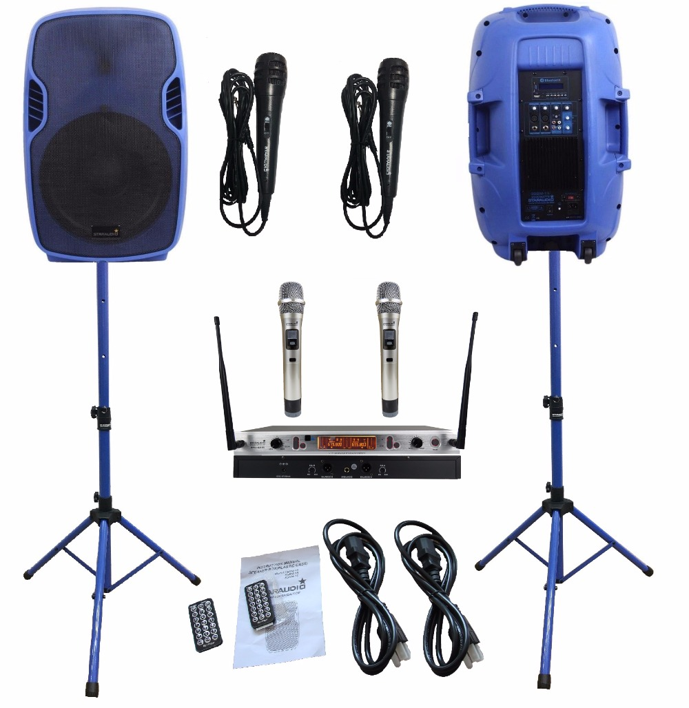 2Pcs STARAUDIO 153500W Blue Powered Active PA DJ Stage BT FM SD Speakers W/2CH UHF Wireless Mics Stands Wired Mics SSBM-15RGB