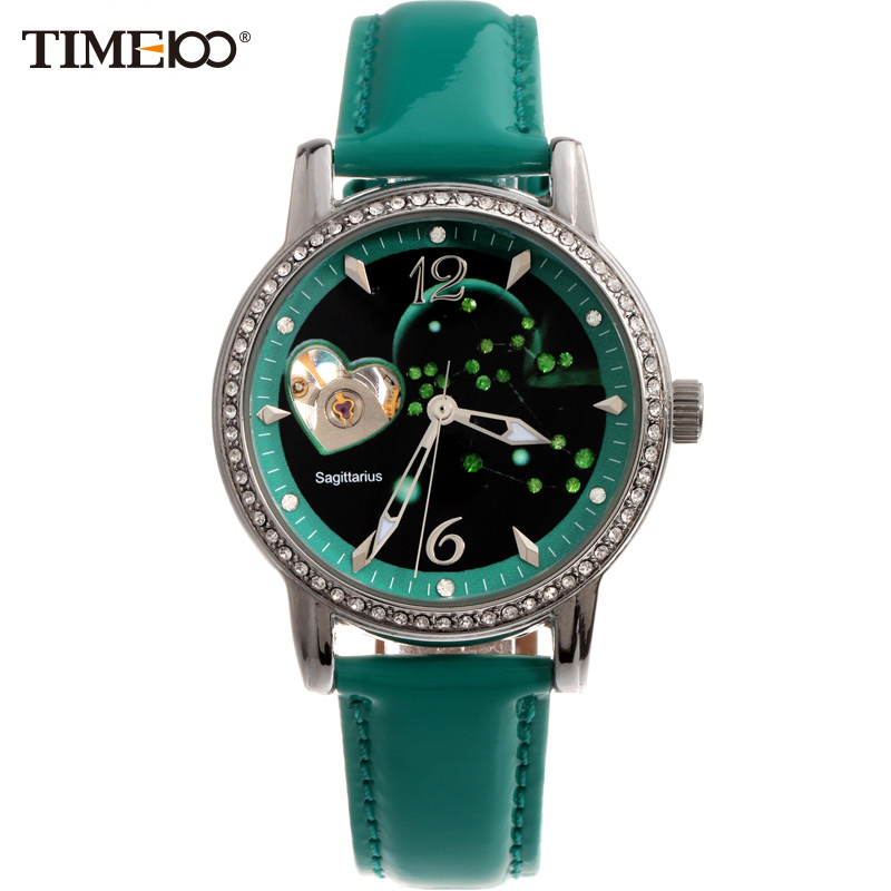 Time100 Ladies Fashion 12 Constellation Sagittarius Automatic Self-Winding Mechanical Leather Band Watches For Women W80050L.09A reloj 2017 new design hot sale luxury man s bronze leather band self winding automatic mechanical wrist free shipping 17jan9