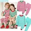 Baby Toddler Boys Girls Cotton Christmas Stripe Pajamas Pjs Kids Cute T Shirt Pants Set Sleepwear