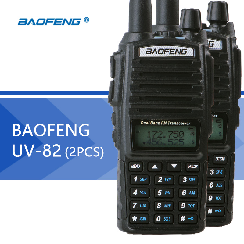 bilder für 2 stücke baofeng uv-82 walkie talkie dual band baofeng uv82 two-way radio 128ch taschenlampe dual display dual watch für jagd radio