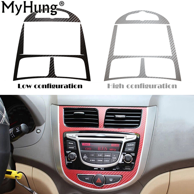 Carbon Fiber Car Interior Decoration Sticker For Hyundai Solaris Verna 2010 2011 2012 Stickers 1pc