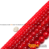 Jad: Round Red Jades Beads, Selectable Size 4mm-20mm, Fashion Jewelry Beads, For Women Bracelet ,Strand 15