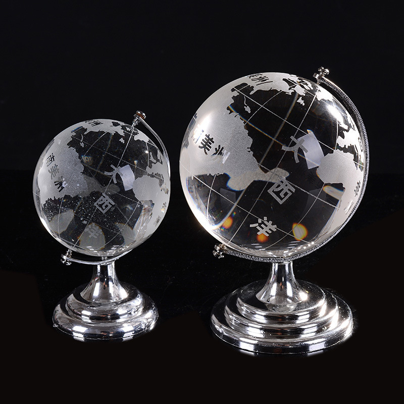 Creative crystal ball model crystal globe home decorative arts and crafts decoration office furniture lovers gifts.