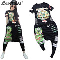 Plus Size M-5XL 2017 Fashion Summer Women 2 Piece Sets Casual Printed Hoodies + Harem Pants Sporting Suits Ladies Tracksuit
