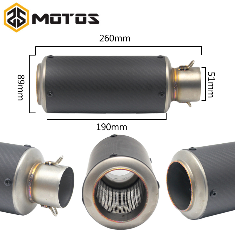 ZS MOTOS 51mm Universal Motorcycle Exhaust Muffler SC GP Moto Escape Muffle Pipe CBR600 CB600 Z750 Z800 GSXR750 DUKE S1000RR FZ6