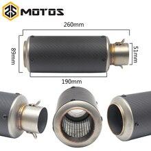 ZS MOTOS 51mm Universal Motorcycle Exhaust Muffler SC GP Moto Escape Muffle Pipe CBR600 CB600 Z750 Z800 GSXR750 DUKE S1000RR FZ6