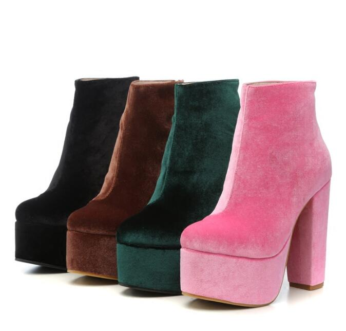 winter woman velvet high platform chunky heel boots colorful velvet thick high heel platform ankle boots woman winter boots womens punk ankle boots chunky heels platform side zip leather moto shoes woman high heel thick heel platform motrocycle boot