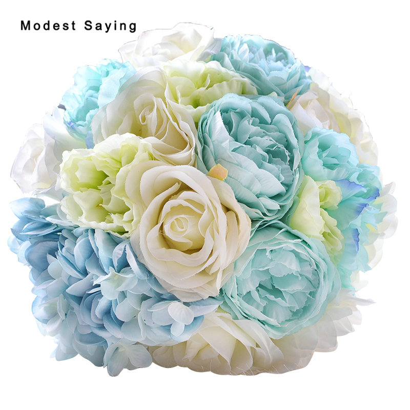 Average Cost Of Wedding Flowers 2014: Pack With Box Romantic Light Blue Artificial Flowers