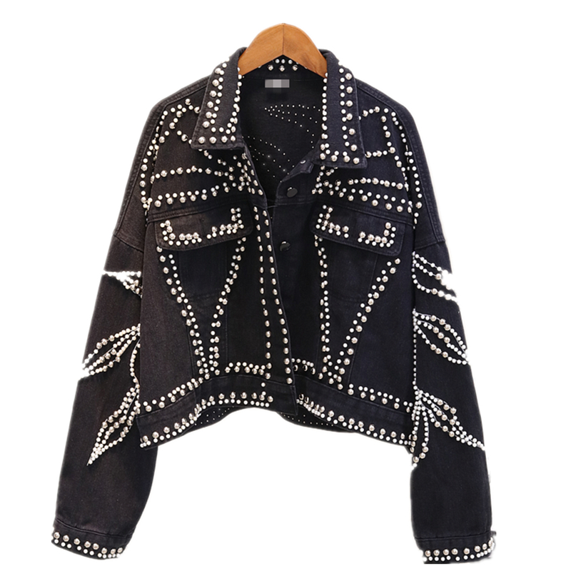Spring Denim Womens   basic     Jacket   coat Loose Single Breasted Pearls Diamonds Coat Female 2019 Autumn Streetwear Fashion   Jacket