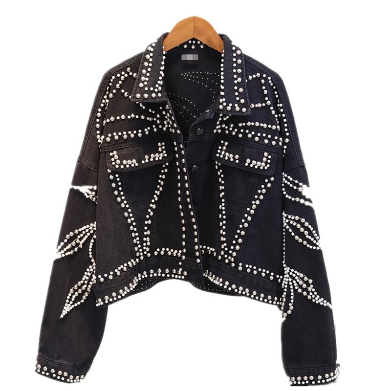 Spring Denim Womens   basic     Jacket   coat Loose Single Breasted Pearls Diamonds Coat Female 2019 Autumn Streetwear Fashion   Jacket