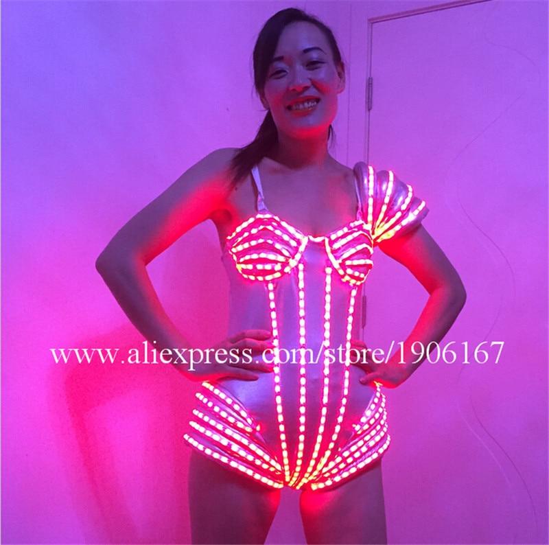 Hot Sale LED Sexy Women Dress Suits Luminous Flashing Costumes font b Clothing b font Party