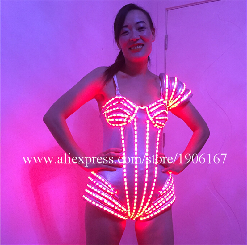 Hot Sale LED Sexy Women Dress Suits Luminous Flashing Costumes Clothing Party Dance Accessories Event Party Supplies