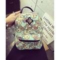 2017 Clock flower canvas school bag female fashion mini - backpack female student backpack hot school bag jade shuttle fish
