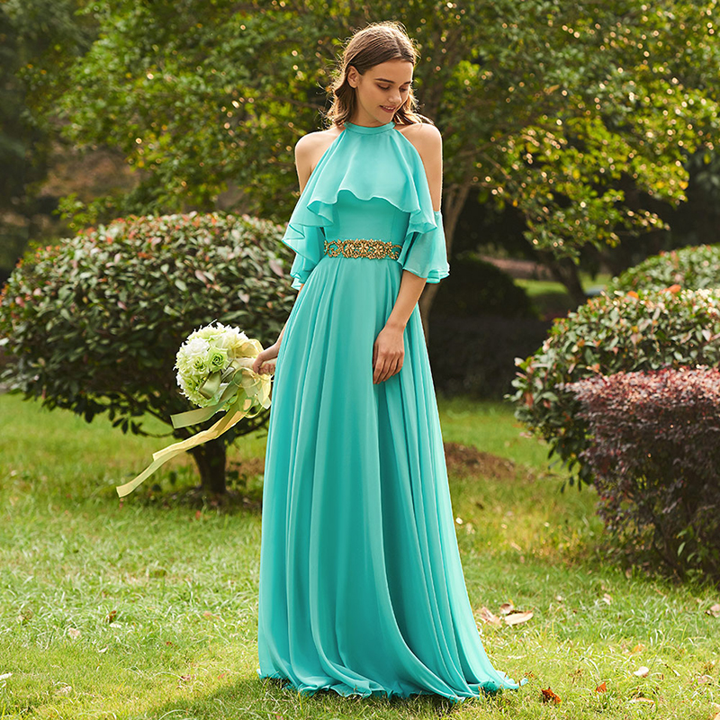 9197391411f3 Tanpell halter μια γραμμή παράνυμφων παράνυμφος φόρεμα λίμνη πράσινο ...