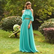 Tanpell halter a line bridesmaid dress lake green sleeveless floor length gown women wedding plus customed dresses