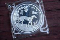 Rare 999 Shanghai Mint 5oz Silver Coin,dog,free shipping