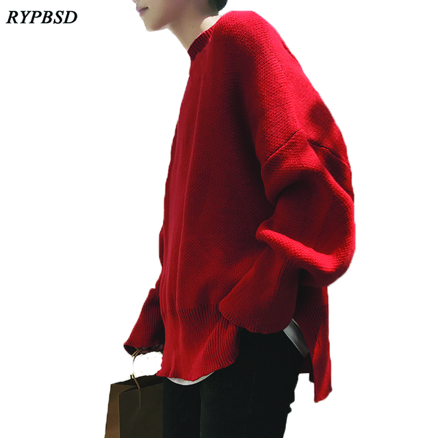 Oversized Knit Sweater Men Streetwear Fashion Casual Korean Oversize